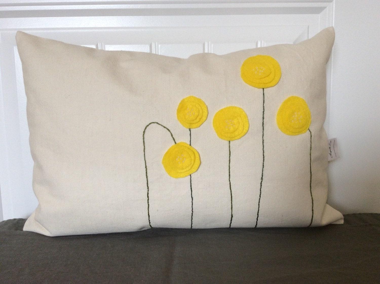 Decorative Pillow Placement : Yellow Spring Blossom Pillow Cover Felt Flower pillow