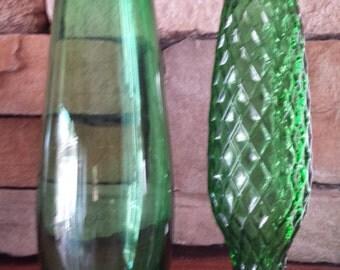 Vintage Emerald Green Glass Flower Vases - 2 Total D081-6