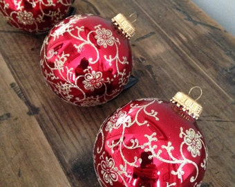 3 Vintage Red Mercury Christmas Bulbs Gold Glitter M517-4