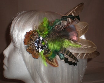 Fuzzy Neon Green Feather Hair Piece