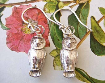 Silver Owl Earrings, owl jewellery, bird earrings