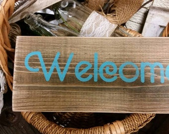 Welcome, wooden sign, wall decor,  rustic wall hanging, turquoise welcome,  beach decor, wooden, home decor, housewares, porch sign