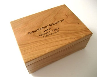 Keepsake Box - Custom Engraved Wood Box - Cherry Keepsake Box - First Communion -Personalized Wooden Box -  Engraved Valet Box