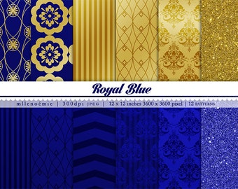 Royal Blue Gold Glitters Glam 12 Digital Patterns Paper Pack Instant Download 300dpi JPEG 12 x 12 inches