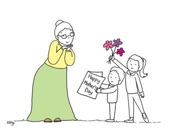 A Mother's Day card for a grandma-   left blank inside for your own message