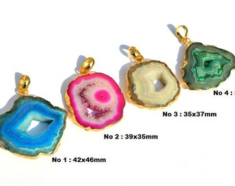 1Pc 24K Gold Electroplated Edge Multi Color Druzy Agate Slice Pendant Gold Plated Blue Pink Cream Green Druzy Single Bail Pendant 160