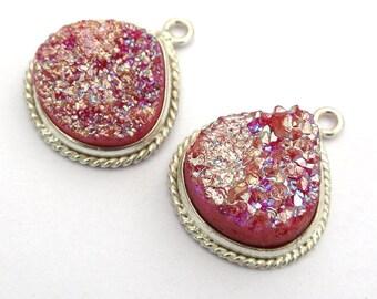 16mm Pink Titanium Druzy Bezel Heart Pendant, Silver Plated Single Loop Druzy Bezel Charm/ Druzy Bezel Pendant/ (16) 1Pc