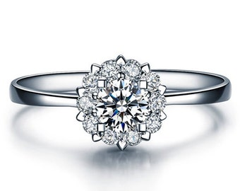 Round Cut Forever Brilliant Moissanite Engagement Ring and Diamonds 14k  White Gold or 14k Yellow Gold Diamond Ring ldiamondsforever