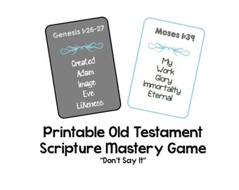 Old Testament Scripture Mastery Taboo Game - LDS Seminary Class - Printable
