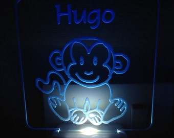 Personalised LED Night Light Jungly Animals Monkey with Name or Text