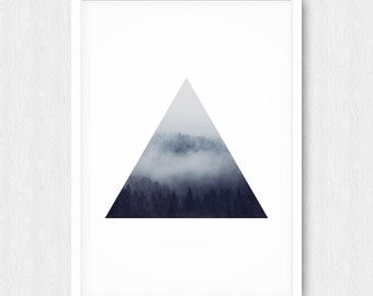 Forest Print, Triangle Print, Forest Photography, Forest Art, Geometric Print, Landscape Photography, Trees Art, Wall Decor, Printable