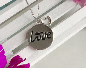 LOVE Medal Necklace-Engraved LOVE medal Necklace-LOVE and Heart Necklace-Metal Necklace for Loved One-Lovely Valentine's Day gifts