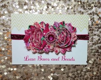 Hot Pink newborn headband, hot pink rhinestone center on fuchsia glitter elastic headband
