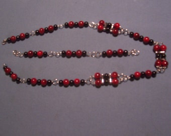Here Pretty DarkRed /Black Beads Necklace with Bracelet to match
