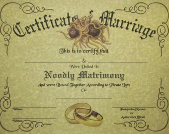 FSM Certificate of Marriage, Pastafarian Flying Spaghetti Monster Wedding