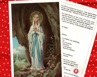 OUR LADY of LOURDES relic holy card with cloth touched to the wall of the Grotto in Lourdes where Mary appeared to St Bernadette in 1858
