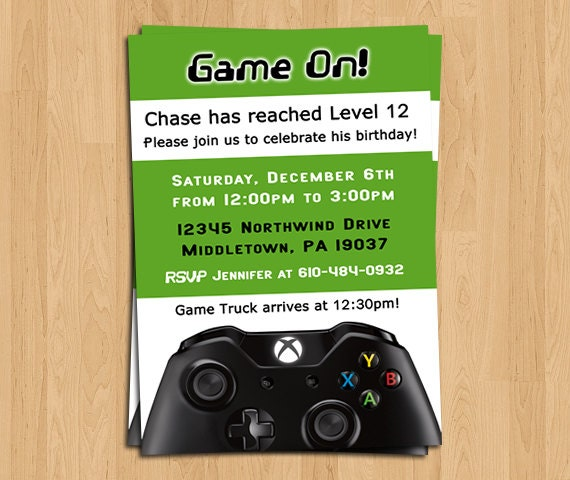 Xbox Game Boys Birthday Party Invitation Invitations Free Printable Gaming Gamer Invite By