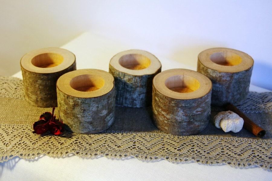 20 wood tealight holder log candle holder rustic candle for Log candle holder how to make