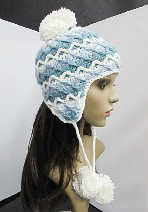 Crochet Womens Hat With Ear Flaps Pattern : Hand knitted white and blue Ear Flap hat with Pom by ...