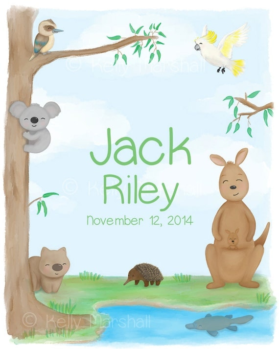 Bespoke Baby Gifts Australia : Personalised name print australian art baby by