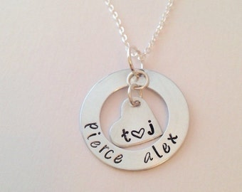 Mom Necklace, Personalized Washer, Hand Stamped Necklace, Custom Name Necklace Hand Stamped Mom Necklace