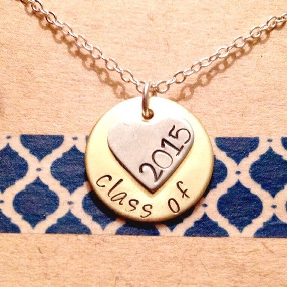 hand stamped graduation necklace class of 2016 by. Black Bedroom Furniture Sets. Home Design Ideas