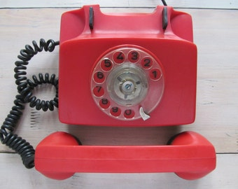 Red rotary telephone - Vintage desk phone -  Home decor - Made in Bulgaria 1980.