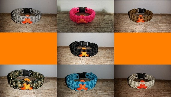 Leukemia / Kidney Cancer / Multiple Sclerosis MS Awareness 550 paracord survival bracelet orange ribbon