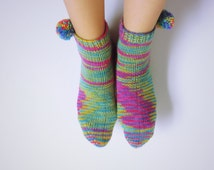 Hand knitted socks for women. Size 7-8.