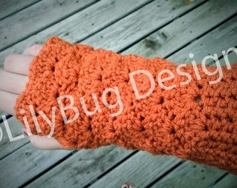 Orange Fingerless Gloves