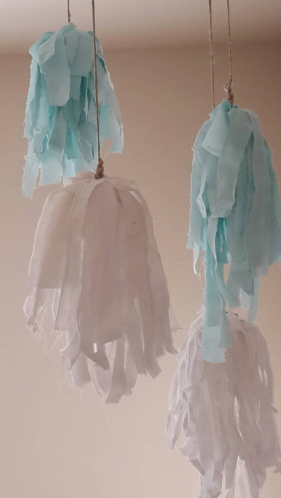 "SALE! Fringe Curtain Pom Poms, Set of 3, 15"" White Teal Aqua Cotton ..."