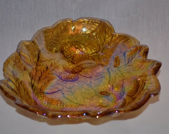 Vintage Carnival Glass Berry & Leaves Gold Candy Dish