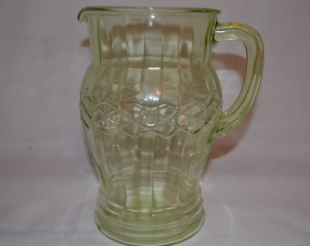 Vintage Anchor Hocking Green Crosshatch Pitcher