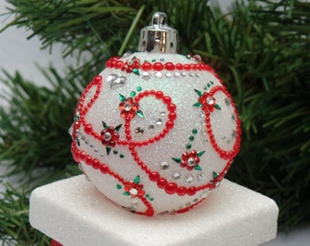 Red on White Floral Scroll Christmas Ornament