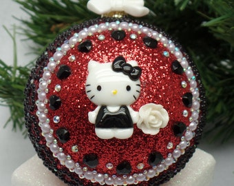 Red, White & Black Kitty Christmas Ornament
