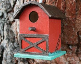 Hand Painted Fairy Birdhouse - Red Barn