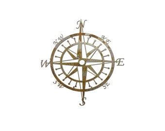 Vintage Steel Compass Metal Wall Art
