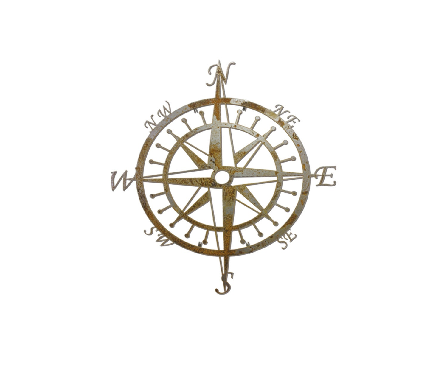 Vintage Compass Wall Decor : Vintage steel compass metal wall art