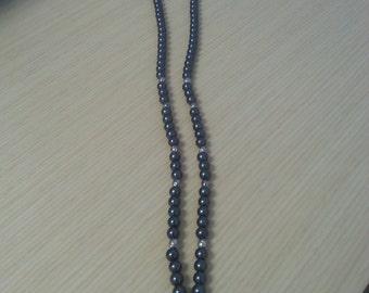 Black bead and silver lanyard