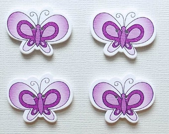 4 Wooden Butterfly Buttons - #BF-00050
