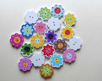 20 Wooden Multicolor Flower Buttons - #SB-00057