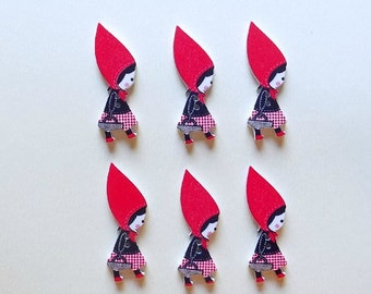 6 Little Red Riding Hood Buttons - #SB-00021