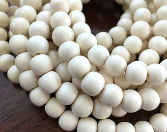 White Wood Beads, Round Wooden Mala Beads, Bleached Pangantuon Wood Beads, Whitewood Beads, White Wooden Beads, 8mm - 50 beads (W8-03)