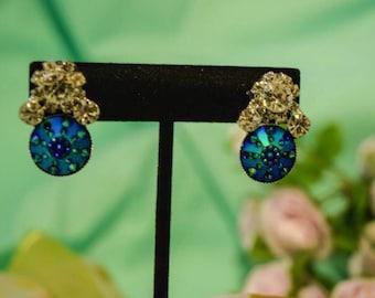 Blue crystal bridal earrings