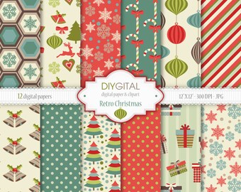 "Retro Christmas Digital Paper Set - 12 Printable digital papers for scrapbooking, invites, cards - 12""x12"" - 300dpi- Instant Download"