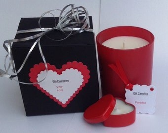 Lovely scented candle gift set....candle, gift box and heart shaped tea light...
