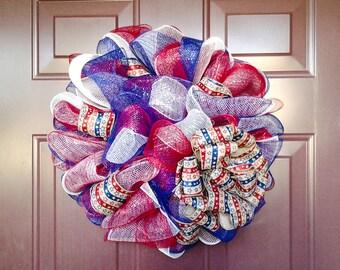Red, White, & Blue Deco Mesh Wreath (Medium~18inches), Medium Wreath, Fourth of July Wreath, Memorial Day Wreath, Veterans Day Wreath,