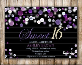 Sweet 16 Birthday Party Invitation, Sweet Sixteen Birthday Invite, Teen 16th Birthday, Purple Glitters, Sweet 15, Quinceanera, Quince Invite