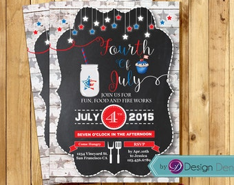 July 4th Invitation/Independent day Invitation/4th of July Party/July 4th Mason Jar Invite/Fireworks #H1015