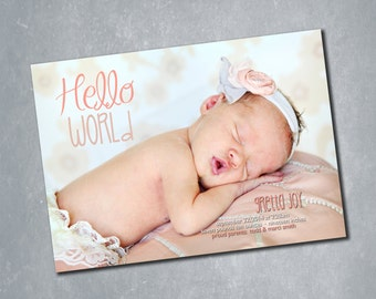 Hello World Girl Baby Announcement. Coral Pink with Stars Digital Double Sided Photo Card. 5x7